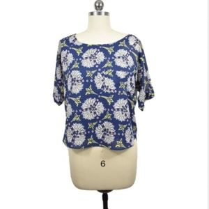 Meadow Rue by Anthropologie Blue Floral Blouse XS